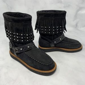 NEW Coach Roccasin Stud Fringe Leather Boots Boho